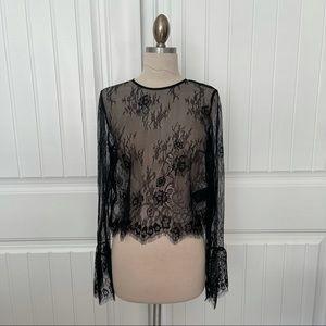 H&M Black Lace Sheer Blouse